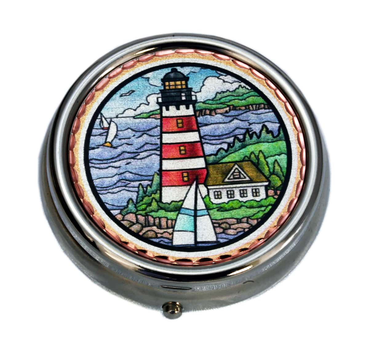 Handcrafted Nautical Gifts, Lighthouse and Sailboat Pill Boxes