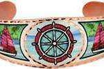 Nautical bracelets handmade from copper in colorful sea life jewelry designs