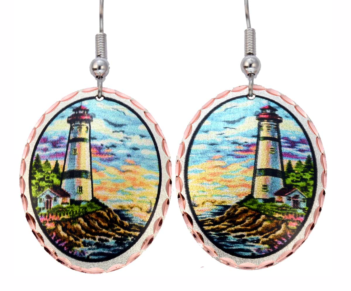 Colorful Nautical Jewelry, Lighthouse Earrings