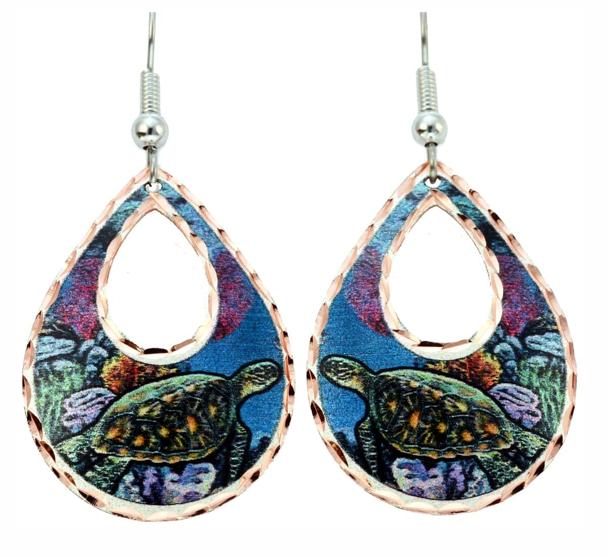 Handmade Nautical Seashore Jewelry, Sea Turtle Earrings