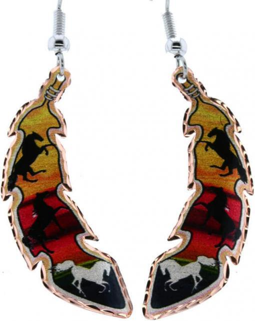 Horses copper feather earrings