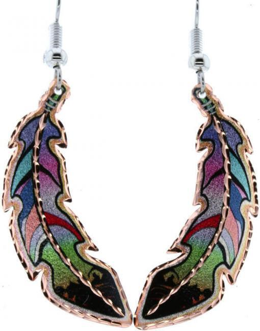 Rainbow colored copper feather earrings