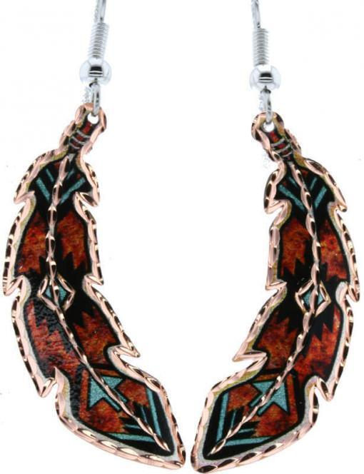 Native copper feather earrings