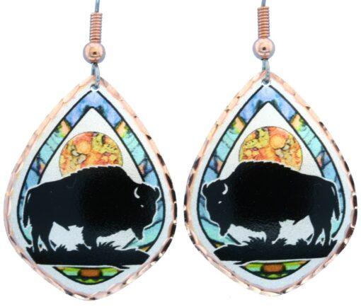 Precious alcohol ink art buffalo earrings LD-371