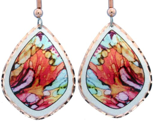 Alcohol ink jewelry abstract earrings LD-367