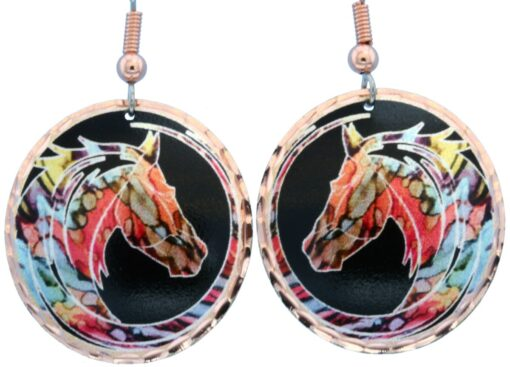 Magnificent alcohol ink jewelry horse earrings LD-372