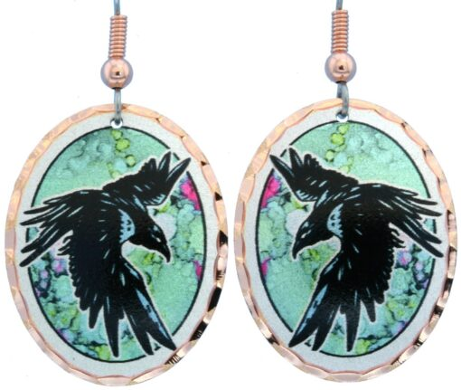 Alcohol ink jewelry raven earrings LD-368