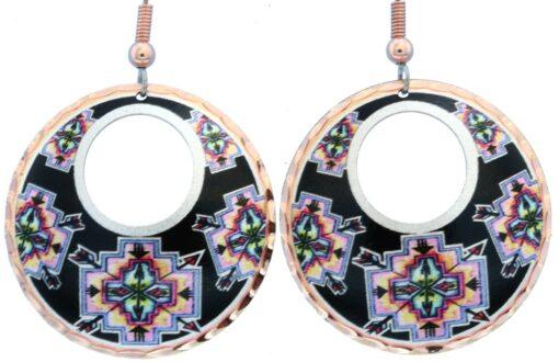 Alcohol ink jewelry, Southwestern hoop earrings LD-375