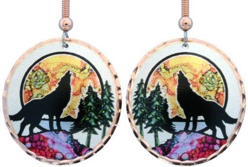 Alcohol ink jewelry wolf earrings LD-366