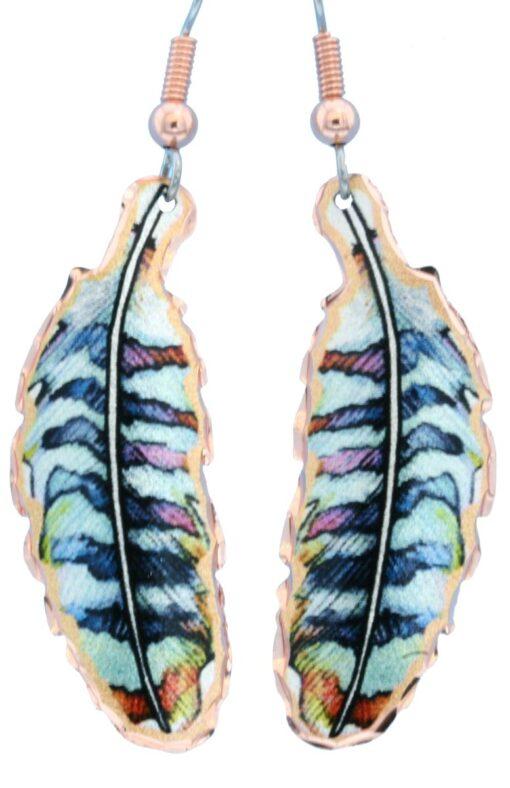 Feather copper drop earrings LD-364