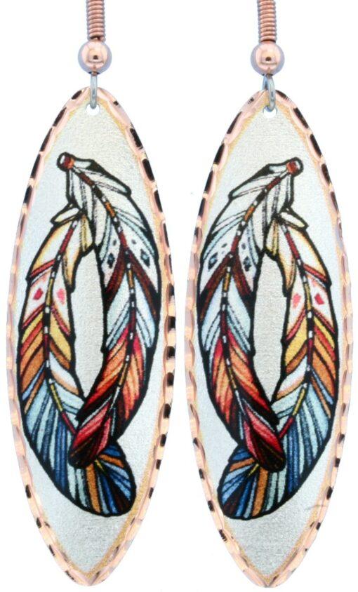 Teardrop feather art earrings LD-351