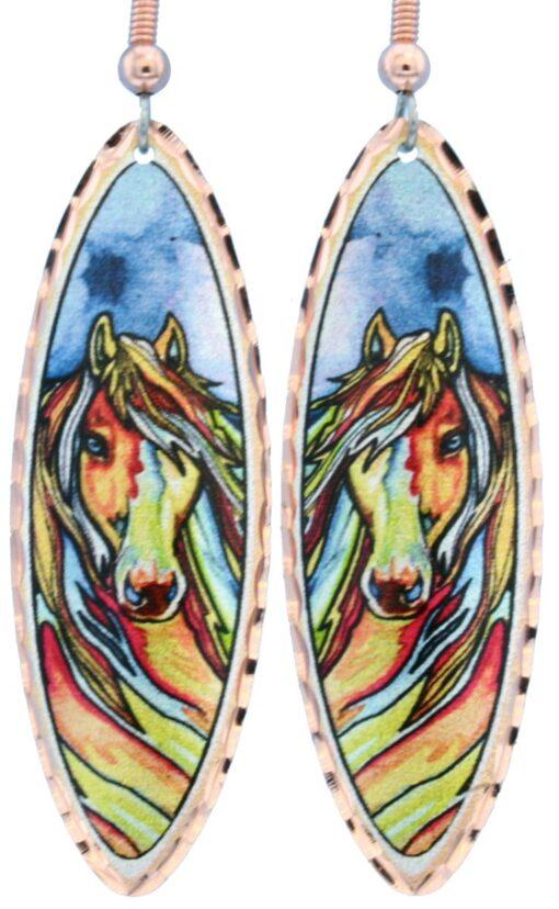 Teardrop horse earrings LD-349